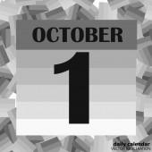 October 1 calendar day Vector illustration