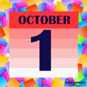 October 1 icon For planning important day Banner for holidays and special days Illustration