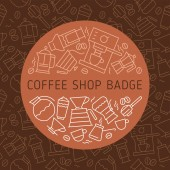 Coffee icon cafe emblems thin line badge vector coffeeshop symbol coffeehouse sign
