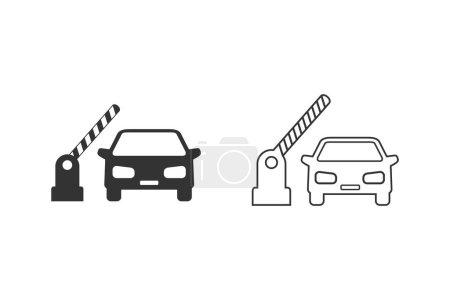 Offene Schranke, Auto-Vektor-Liniensymbol auf weiß gesetzt
