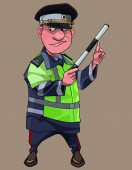 cartoon man in traffic inspector clothes with wand in hand