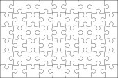 Set of black and white puzzle pieces Jigsaw grid puzzle 48 piec