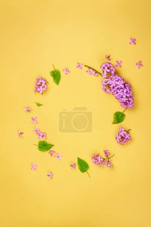 Lilac flowers frame, copy space