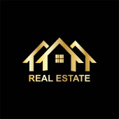 real estate business logo with gold color