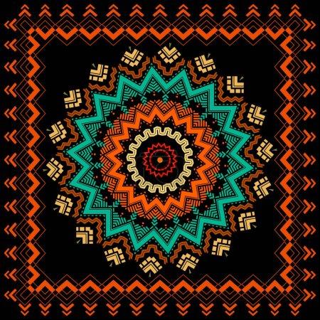 Illustration for Ethnic vector zig zag mandala pattern. Geometric abstract flower background. Modern design. Geometry zig zag lines, stripes, shapes, rhombus.. Tribal folk style zigzag ornaments. Square frame, border. - Royalty Free Image