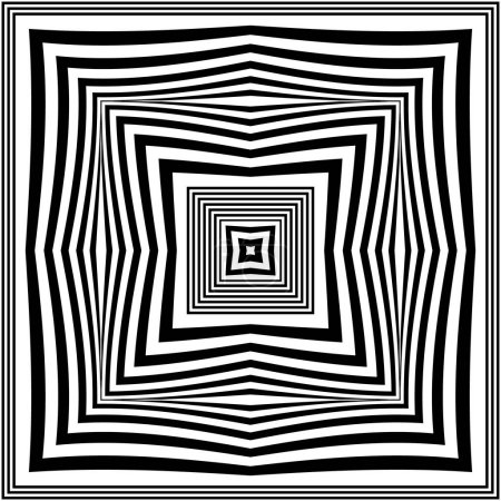 Illustration for Geometric vector seamless pattern. Radial squares background. Repeat square shapes backdrop. Frames, stripes, lines, borders. Abstract geometrical black and white modern ornament. Endless texture. - Royalty Free Image