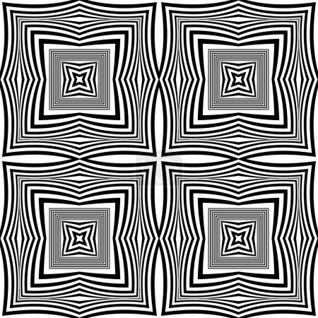Illustration for Geometric vector seamless pattern. Radial squares background. Repeat square shapes backdrop. Frames, stripes, lines, borders. Abstract futuristic black and white modern ornaments. Endless texture. - Royalty Free Image