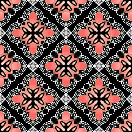 Illustration for Ethnic floral vector seamless pattern. Ornamental greek style background. Repeat backdrop. Greek key meanders. Beautiful elegance design. Arabesque ornament with vintage flowers, leaves, lines, frames - Royalty Free Image