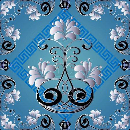 Illustration for Floral greek vector seamless pattern. Vector geometric background. Elegance light blue repeat backdrop. Beautiful vintage flowers ornament. Greek key meanders rhombus frames. Symmetrical design. - Royalty Free Image