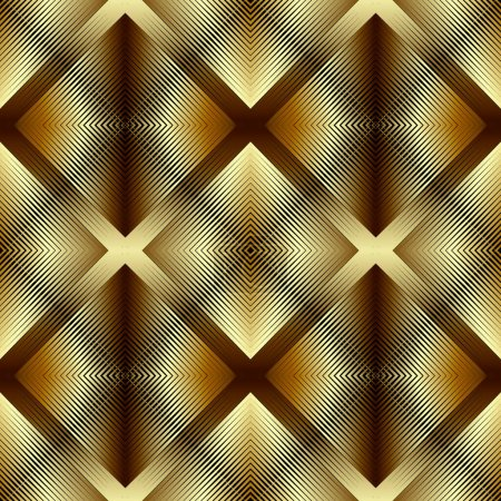 Illustration for Textured gold 3d lines vector seamless pattern. Golden waffled surface background. Repeat grunge backdrop with shadows and highlights. Shiny striped waffle ornament with rhombus. Endless texture - Royalty Free Image