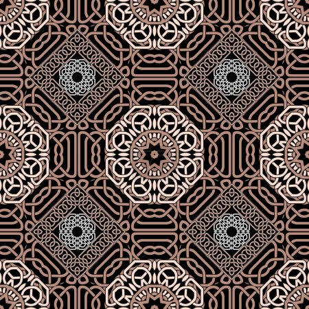 Illustration for Ornate celtic seamless pattern. Vector lines background. Repeat line art knotted arabic ornamets. Intricate  curved lines backdrop. Beautiful arabesque design with contours, knots, curves, mandalas. - Royalty Free Image