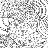 Square intricate pattern Hand drawn mandala on isolated background Design for spiritual relaxation for adults Doodle for work Black and white illustration for coloring