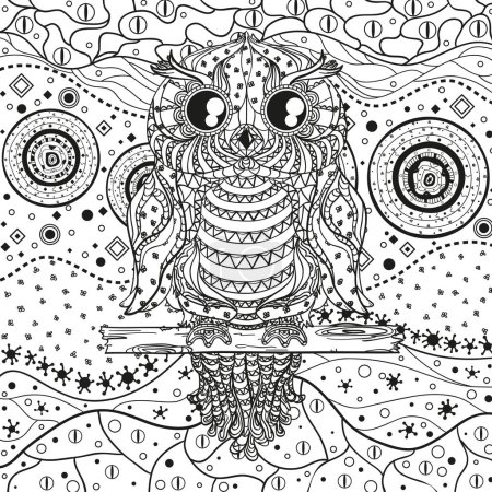 Mandala with owl on white. Zentangle. Hand drawn abstract patterns on isolation background. Design for spiritual relaxation for adults. Black and white illustration for coloring