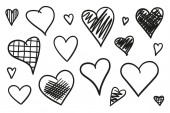 Hand drawn grunge hearts on isolated white background Set of love signs Unique signs for design Black and white illustration Doodles for flyers greeting cards and banners Creative art sketches