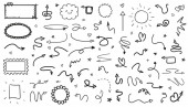 Sketchy elements on isolated white background Hand drawn simple shapes Line art Set of different signs Abstract symbols Black and white illustration