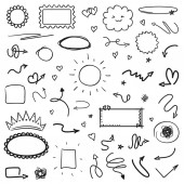 Hand drawn different tangled signs and shapes on white Background with array of lines Chaotic symbols Art creation Black and white illustration Doodles for your design