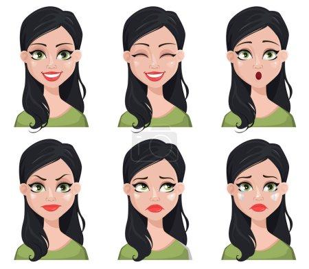 Illustration pour Expressions faciales de belle femme brune en chemisier vert. Différentes émotions féminines. Mignon personnage de dessin animé. Illustration vectorielle isolée sur fond blanc . - image libre de droit