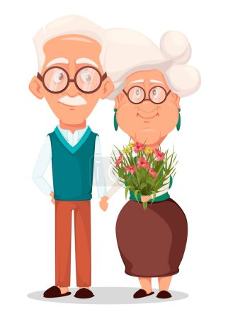 Grandmother and grandfather together. Silver haire...