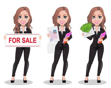Illustration pour Un agent immobilier personnage de dessin animé, ensemble de trois poses. Belle femme agent immobilier tenant bannière à vendre, tenant document et tenant de l'argent. Jolie femme d'affaires. Illustration vectorielle - image libre de droit