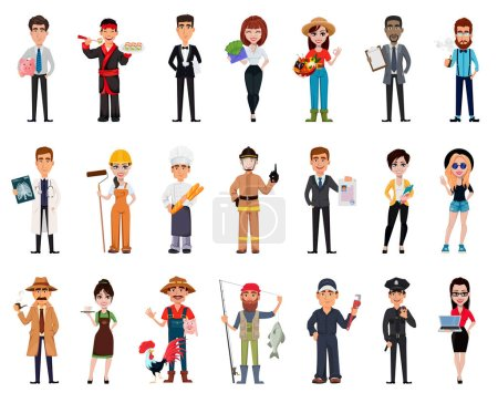Photo for People of different professions. Set of twenty one poses with cartoon characters of various occupations. Creative vector illustration - Royalty Free Image