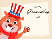 Happy Groundhog day Funny marmot wearing Uncle Sam hat and waving hand Vector illustration