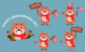 Happy Groundhog day Funny marmot set of five poses Vector illustration