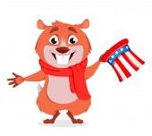 Happy Groundhog day Funny marmot holding Uncle Sam hat Vector illustration on white background