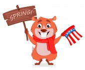 Happy Groundhog day Funny marmot holding Uncle Sam hat and wooden plate Vector illustration on white background