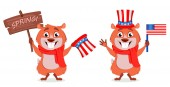 Happy Groundhog day set of two poses Funny marmot holding wooden plate and holding USA flag Vector illustration on white background