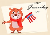 Happy Groundhog day Greeting card with funny marmot holding Uncle Sam hat Vector illustration on white background