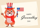 Happy Groundhog day Greeting card with funny marmot wearing Uncle Sam hat and holding USA flag Vector illustration on white background