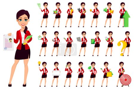 Photo for Businesswoman cartoon character, set of twenty two poses. Confident young manager. Beautiful business woman. Vector illustration. - Royalty Free Image