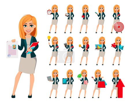 Illustration pour Concept de femme d'affaires moderne, ensemble de seize poses. Joyeux personnage de dessin animé femme d'affaires avec les cheveux blonds. Illustration vectorielle . - image libre de droit