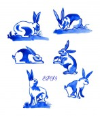 Set of 6 vector Easter bunnies Delft blue style watercolour illustration Traditional Dutch motif with rabbits and hares cobalt on white background Elements for your design