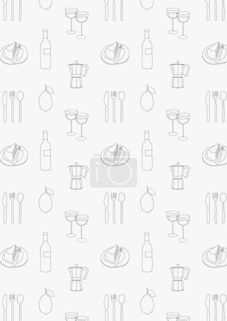 Hand drawn cafe pattern background. Food and drinks wallpaper