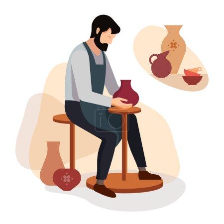 Illustration pour Potier artisan sculpte un vase d'argile sur la machine. Illustration vectorielle d'un maître de poterie au travail . - image libre de droit