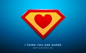 the super heart on blue background