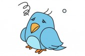 Vector cartoon illustration of cute bird sickIsolated on white background