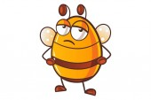 Vector cartoon illustration of cute honey bee sickIsolated on white background