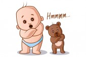 Vector cartoon illustration Cute baby and teddy bear both saying hmm Isolated on white background
