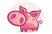 Vector cartoon illustration of cute pig is sad Isolated on white background