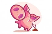 Vector cartoon illustration Cute pig shitting Isolated on white background
