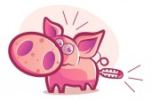Vector cartoon illustration of cute pig Isolated on white background
