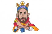 Vector cartoon illustration of cute Sergio Garcia wearing king costume Isolated on white background