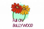Vector cartoon illustration of sunflower Lettering full on Bollywood text Isolated on white background