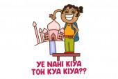 Vector cartoon illustration of the girl taking a picture with Tajmahal Ye nahi kiya toh kya kiya Hindi text translation - Did not do what you did Isolated on a white background