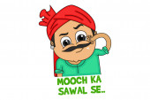 Vector cartoon illustration Haryanvi man is holding own mustache and moving it Mooch ka sawal se text translation - is question of mustache  Isolated on white background