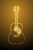 Abstract Shiny Bokeh star pattern Acoustic Guitar shape music instrument concept design gold color illustration isolated on brown gradient background with copy space vector eps 10