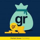 Polish Grosz Money bag icon with sign
