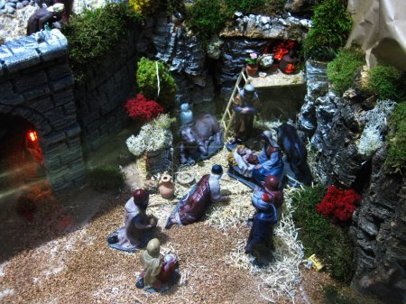 Photo for Figures and decoration of the birth of Bethlehem. - Royalty Free Image
